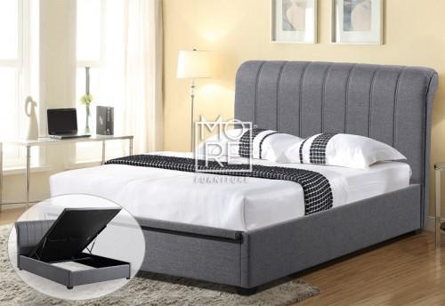 Rebecca Fabric Gas Lift Storage Bed Frame Dark Grey