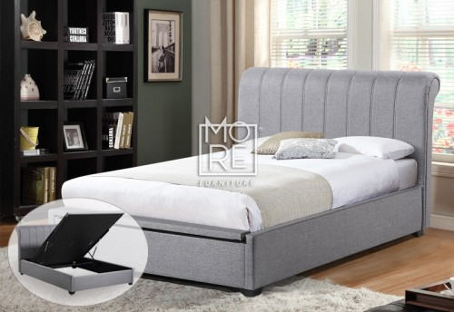 Rebecca Fabric Gas Lift Storage Bed Frame Light Grey