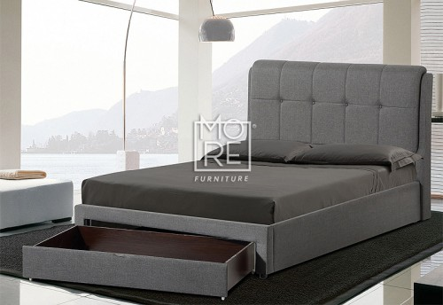 Avalon Fabric Bed Frame with Drawer Dark Grey