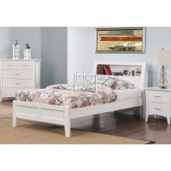 Cove Poplar Solid Timber Bed Frame with Shelf White