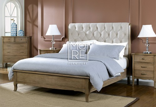 Celeste Poplar Timber Bed Frame with Fabric