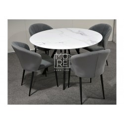 Circle 5Pce Marble Effect Round Glass Dining Suite