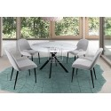 Crown 5Pce Marble Effect Round Glass Dining Suite