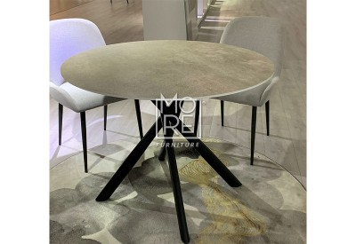 Crown Grey Marble Effect Round Glass 1.1m Dining Table