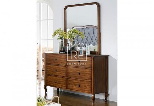 Juliette Poplar Timber Dresser with Mirror