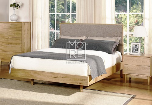 Denmark Poplar Timber Bed Frame with Light Grey Fabric