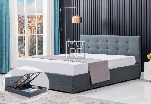DB New Classic Fabric Gas Lift Storage Bed Frame Grey