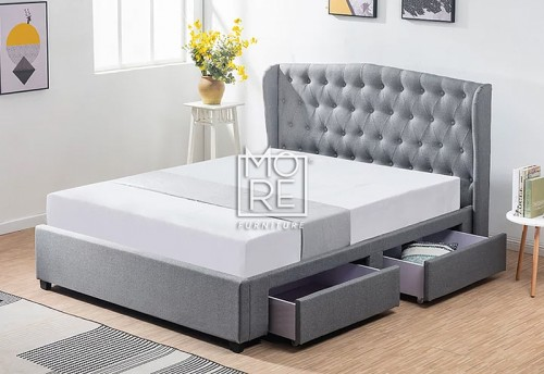 DB Luxury Fabric Bed Frame with Drawers Grey