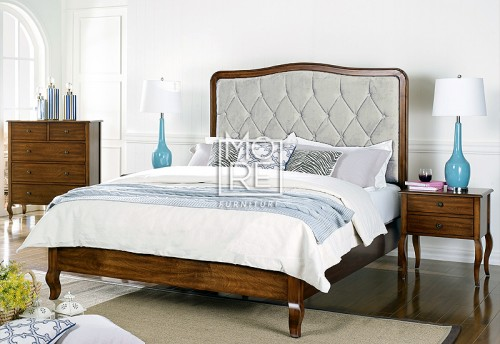 Juliette Poplar Timber Bed Frame with Fabric