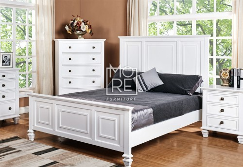 Miranda Poplar Solid Timber Bed Frame White