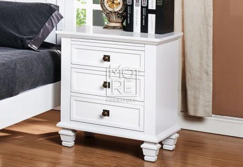 Miranda Poplar Solid Timber Bedside White