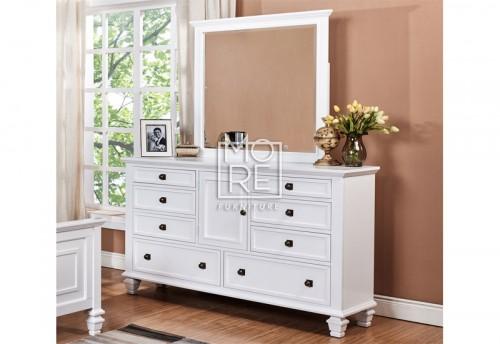Miranda Poplar Solid Timber Dresser with Mirror White
