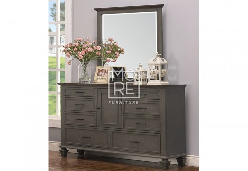 Miranda Poplar Solid Timber Dresser with Mirror 2 Tone