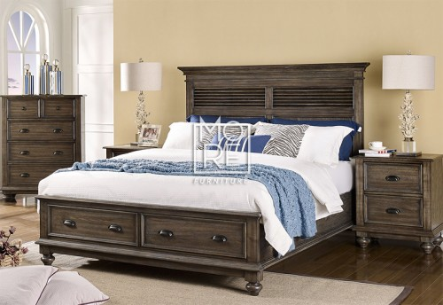 Louvre Poplar Solid Timber Bed Frame