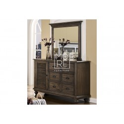 Louvre Poplar Solid Timber Dresser with Mirror