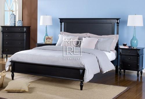 Eva Poplar Solid Timber Bed Frame Black Wash