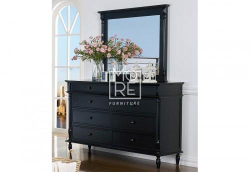 Eva Poplar Solid Timber Dresser with Mirror Black Wash