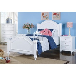 Coco Poplar Solid Timber Bed Frame White