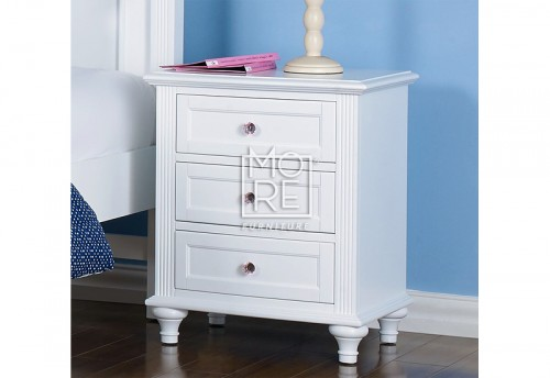 Coco Poplar Solid Timber Bedside Table White