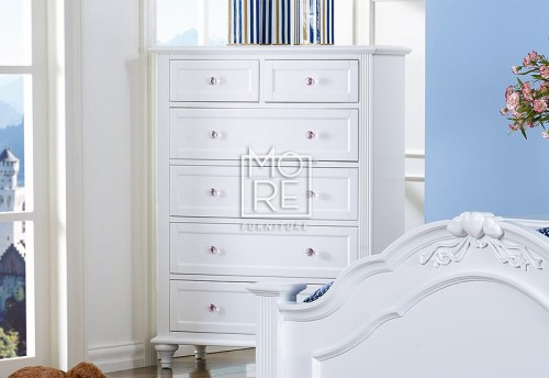 Coco Chest Poplar Solid Timber Tallboy White