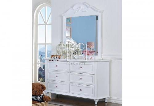 Coco Poplar Solid Timber Dresser with Mirror White