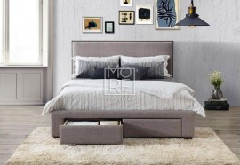 Citta Fabric Bed Grey with Storage