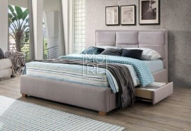 Kingston Fabric Bed Grey with 2Drawers