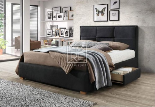 Kingston Fabric Bed Black with 2Drawers