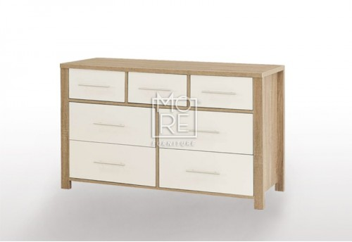EVE CUE 7 Drawers Dresser Oak&White