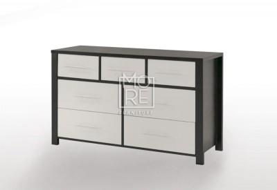 EVE CUE 7 Drawers Dresser Walnut&White