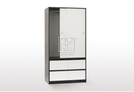 EVE CUE 90 Sliding Door Wardrobe Walnut&White