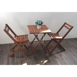 DB Outdoor Wooden Bistro 3 Piece Foldable Table Set