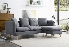DB Velvet Sectional Fabric 3 Seater Chaise Grey