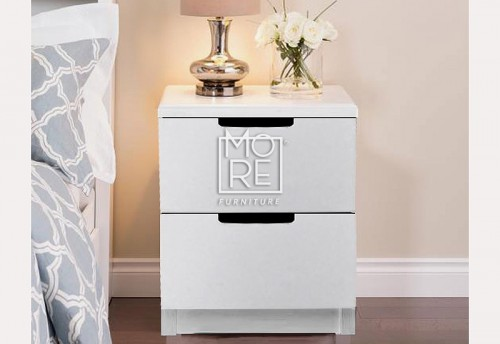DB WF Bedside Table 2 Drawers White