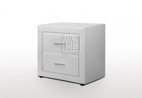 DB Luxury PU Leather Bedside Table White
