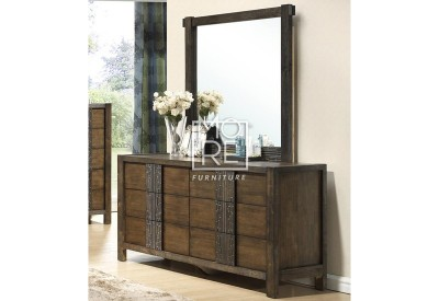 Ironbark Rubber Wood Dresser with Mirror