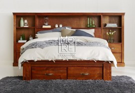 Texas Cabin NZ Pine Timber Bed Frame with Storage