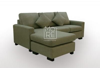 APT 3 Seater Chaise Fabric Chocolate