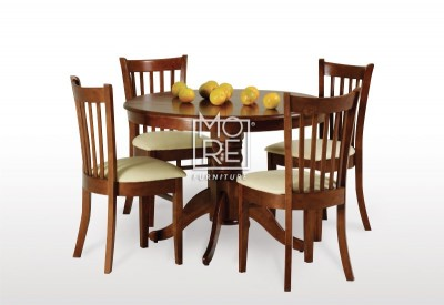 Lismore 5Pce Round Extension Timber Dining Suite