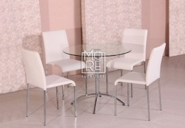 Cafe 5Pcs Round Gloss Top Dining Suite