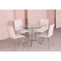 Cafe 5Pce Round Gloss Top Dining Suite