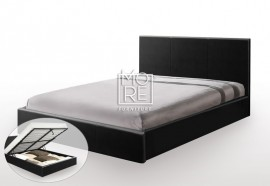 DB Luxury Faux Leather Gas Lift Bed Frame Black