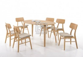 Betty 7Pcs Rubber Wood Oval Dining Suite with Jessie Chairs