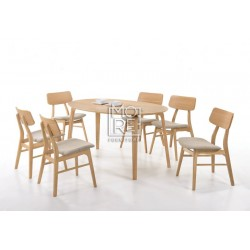 Betty 7Pce Rubber Wood Oval Dining Suite with Jessie Chairs
