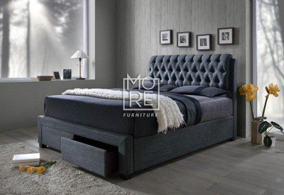 Louton Fabric Bed Frame with 2 Drawers