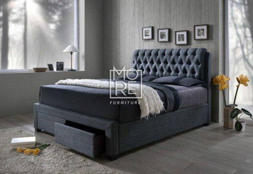 Louton Fabric Bed Frame with Drawers