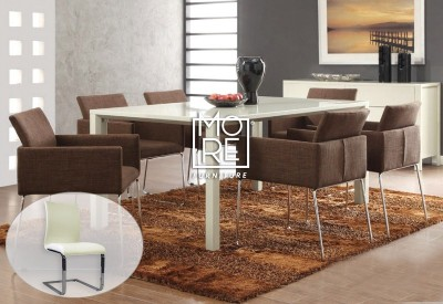 Cotton 7Pce High Gloss Dining Suite with Pure Chair