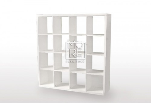 Eco White Gloss 16 Cube Bookcase