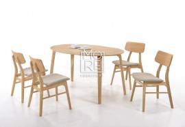 etty 5Pcs Rubber Wood Timber Oval Dining Suite with Jessie Chairs
