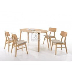 Betty 5Pce Rubber Wood Timber Oval Dining Suite with Jessie Chairs